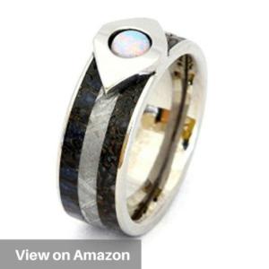 White Opal Dinosaur Bone Gibeon Meteorite Comfort Fit Anium Wedding Band